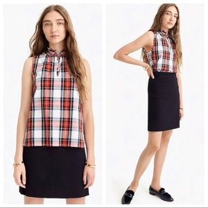 NWT J. crew tartan red plaid sleeveless ruffle top